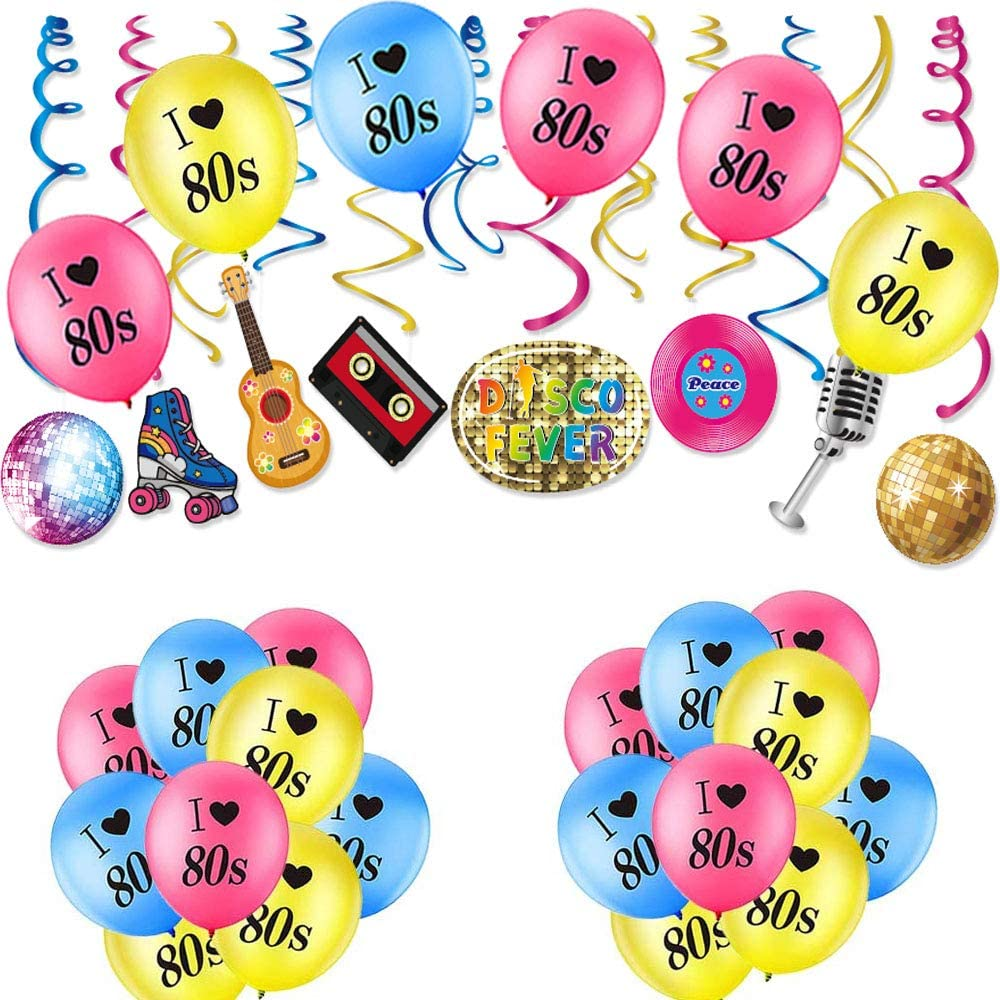 Elefama 80s Party Decorations Kit for Adults Guys with 30 PCS I Love 80s Balloons 30CT 80's Retro Disco 1980 Swirls Whirl 80s Theme Party Decor Backdrop for Hip Hop 30th Birthday