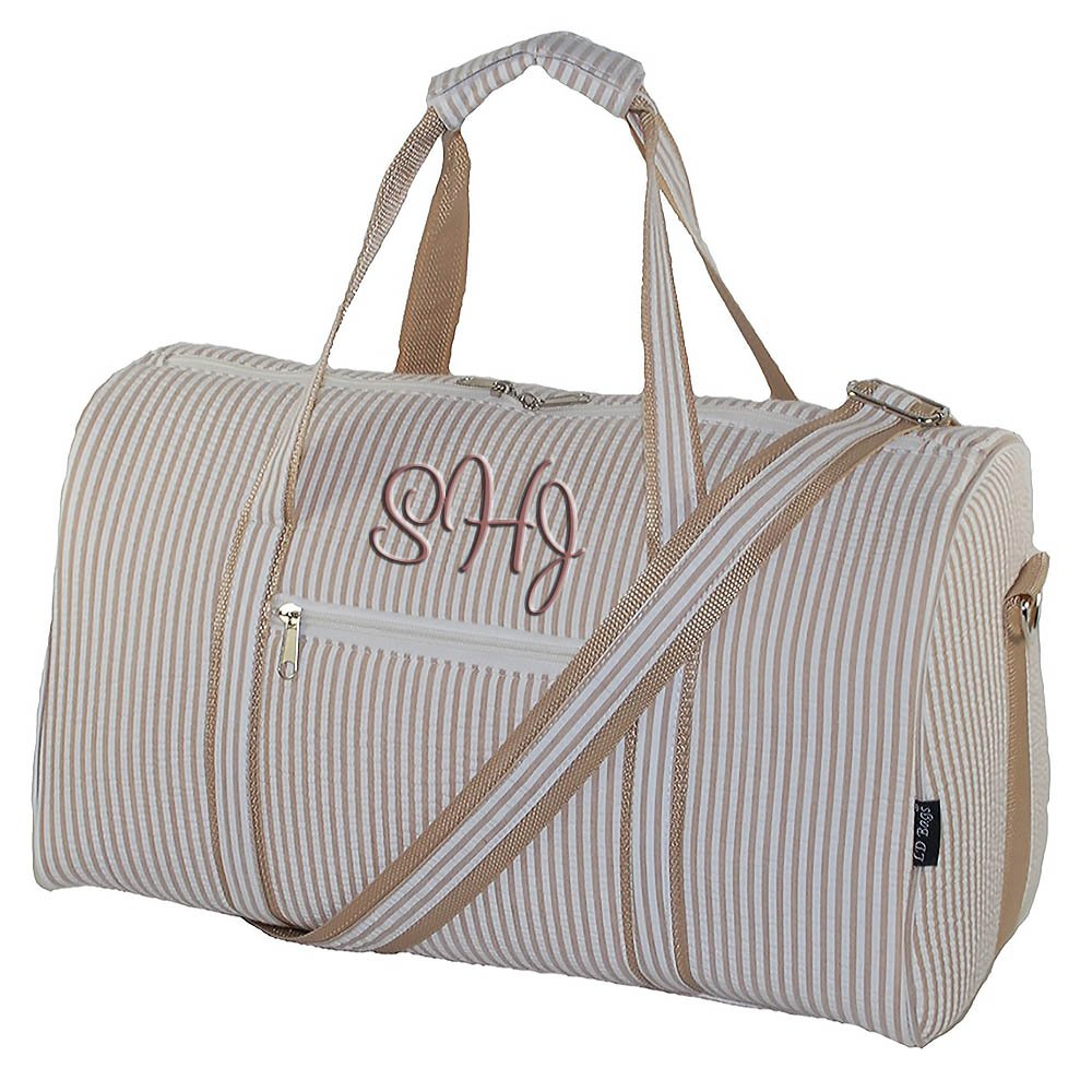 Personalized Mocha Beige Seersucker Overnight Duffle Bag 17.5''