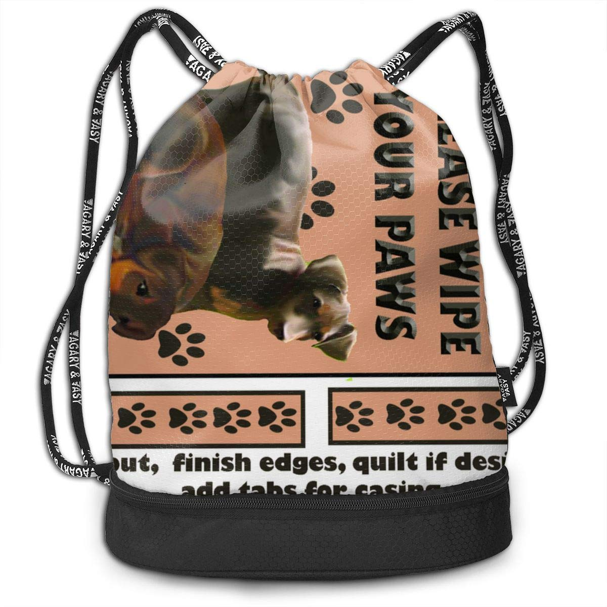 Doberman Welcome Wall Hanging Drawstring Backpack Sports Athletic Gym Cinch Sack String Storage Bags for Hiking Travel Beach