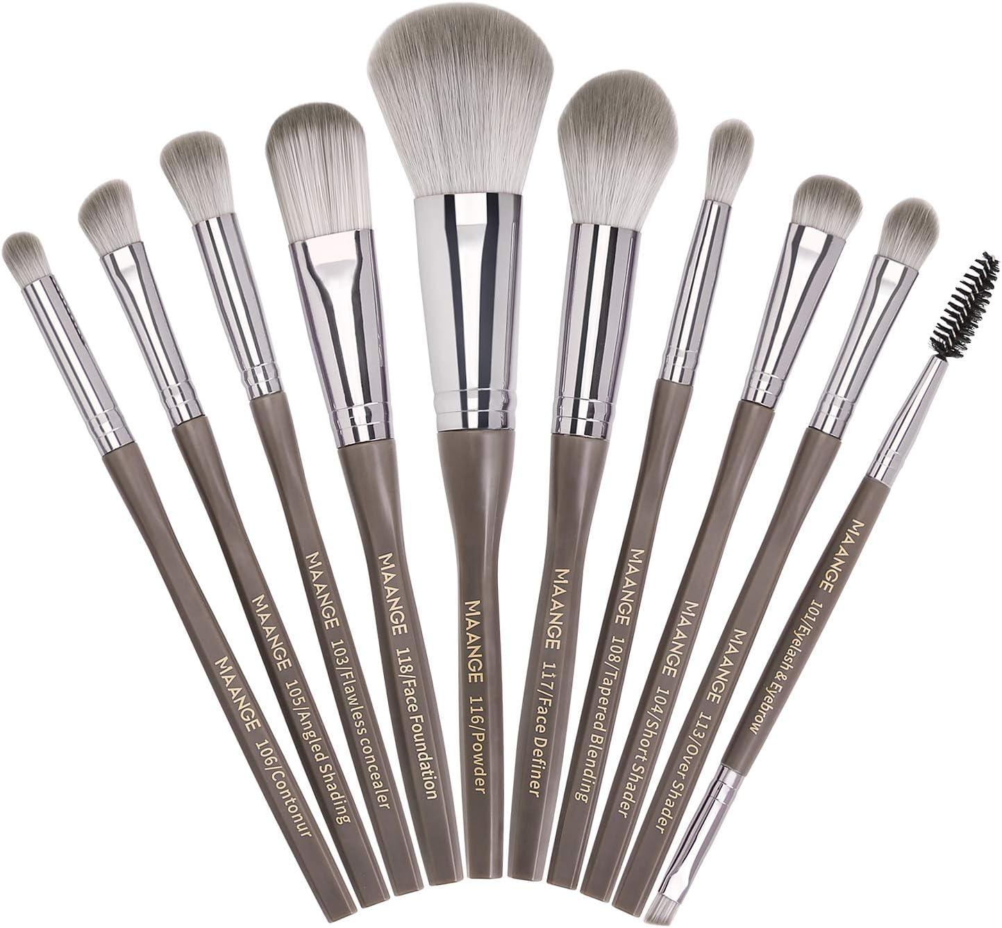 Pinceles de maquillaje 10 piezas Juego de pinceles de maquillaje Premium Synthetic Foundation Brush Blending Face Powder Blush Correctores Sombras de ojos Kit de pinceles de maquillaje