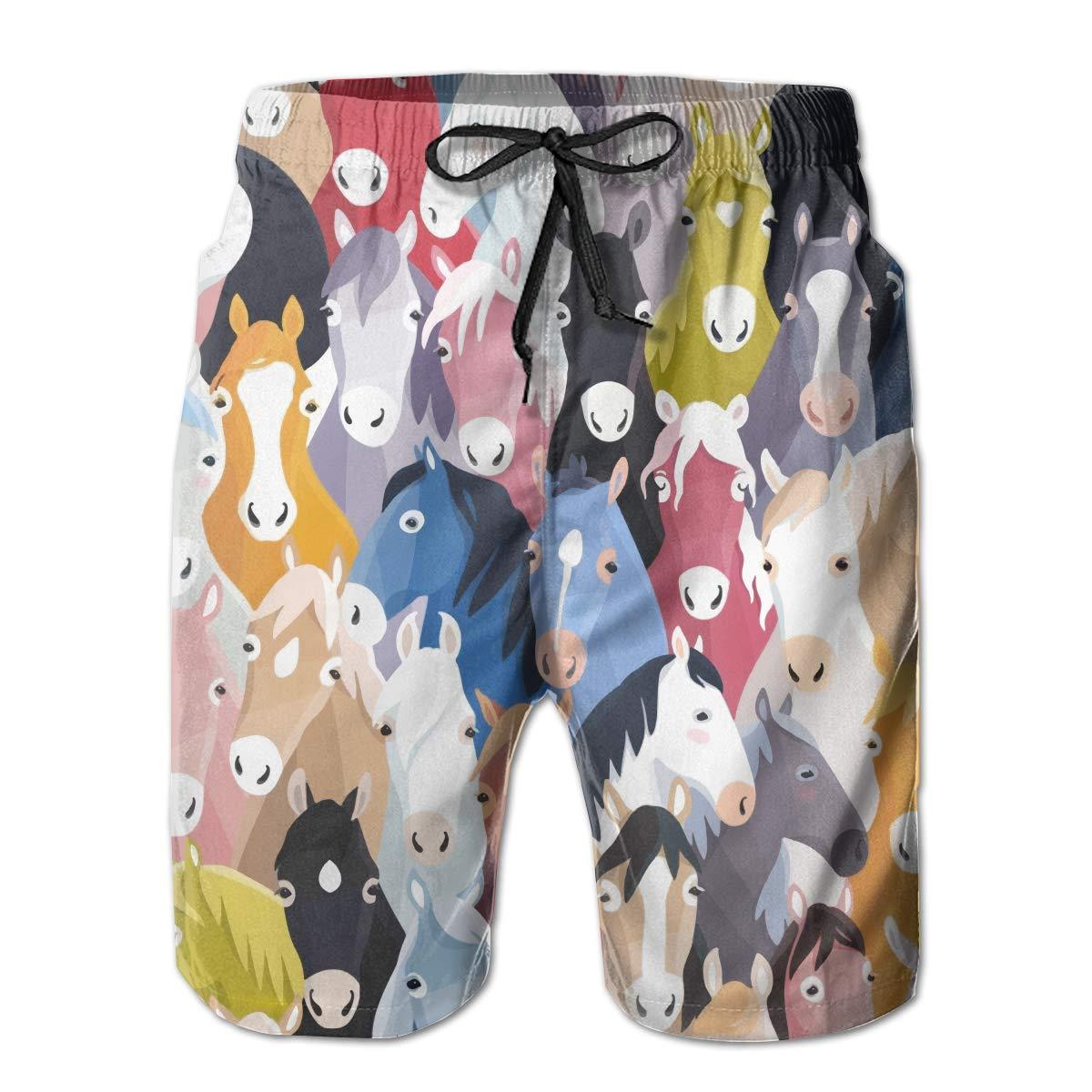 MIPU SHANGMAO Mens Horse Summer Beach Shorts Leisure Quick Dry Swimming Pants