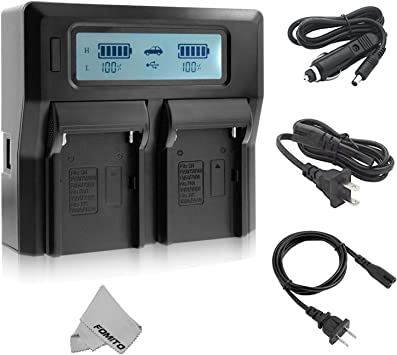 DISPLAY per SONY NP-F530 NP-F550 NP-F570 2in1 Dual Charger