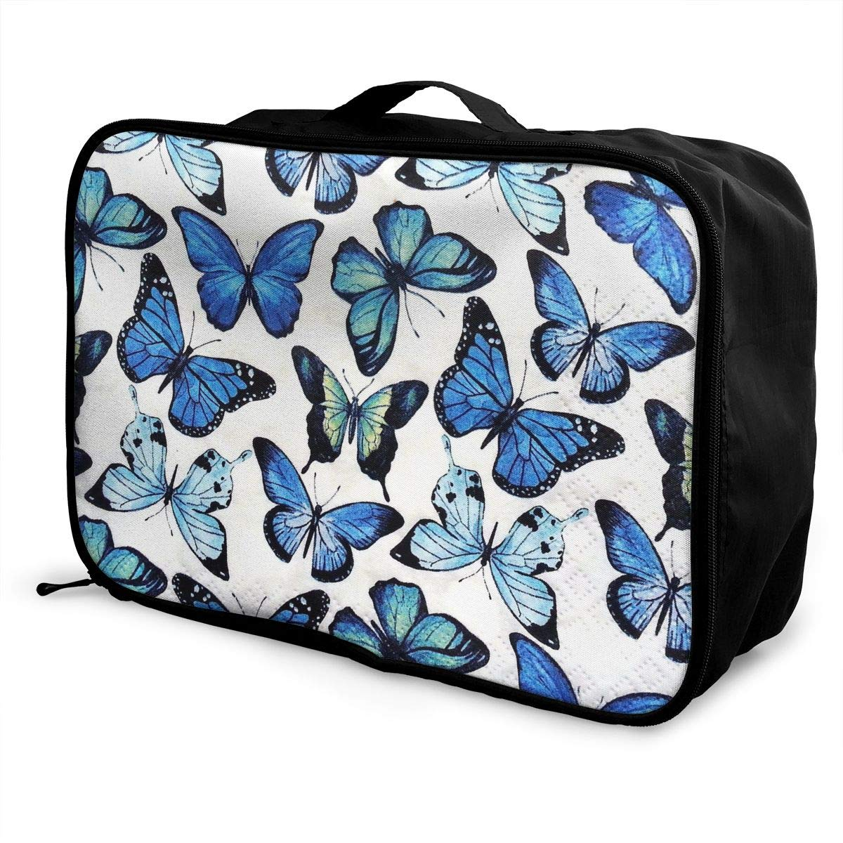 Travel Luggage Duffle Bag Lightweight Portable Handbag Blue Butterfly Large Capacity Waterproof Foldable Storage Tote