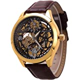 ManChDa Skeleton Mechanical Mens Watch 47MM XL Automatic Crystal Brown Leather Wrist Watch
