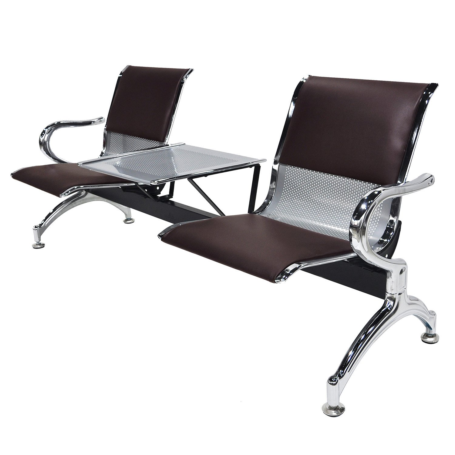 walsport 2-Seat with Desk Metal Waiting Room Chair Leather Business Reception Bench Room Garden Salon Barber Bench for Barbershop Salon Airport Bank Hospital Market, Brown