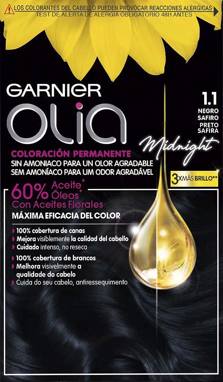 Garnier Olia - Coloración Permanente sin Amoniaco, con Aceites Florales de Origen Natural - Tono Negro Zafiro 1.1