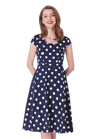 3dde8f9920fbd Alisapan Womens Polka Dot Cap Sleeve Retro Fit and Flare Dress 4 US Navy  Blue