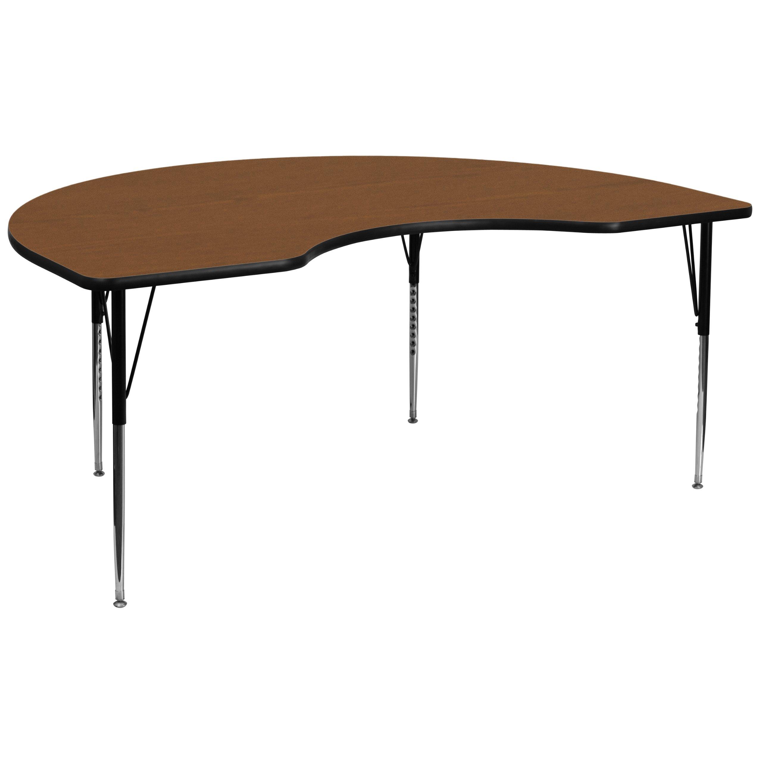 Flash Furniture 48''W x 96''L Kidney Oak HP Laminate Activity Table - Standard Height Adjustable Legs