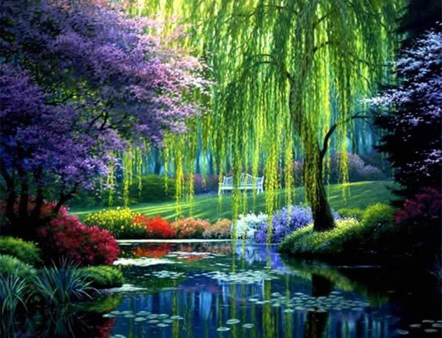 Spring in a Park DIY Paint By Numbers Number Canvas Hand Painted Painting Sacura