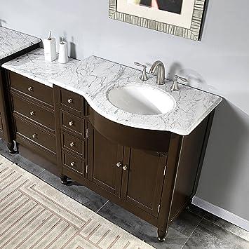 58u0026quot; Bathroom Sink Vanity White Marble Top Cabinet 902WRM