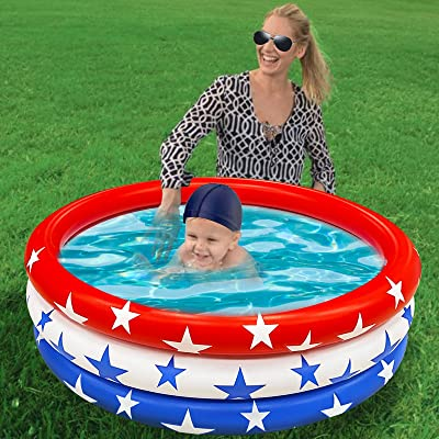 TURNMEON Inflatable Kiddie Pool American Flag Swimming Pool for Baby Kids Infant Toddlers Backyard Indoor Outdoor Blow Up Pool Games Summer Beach Water Games Toys Inflatable Lounge 35.4 x 8.7