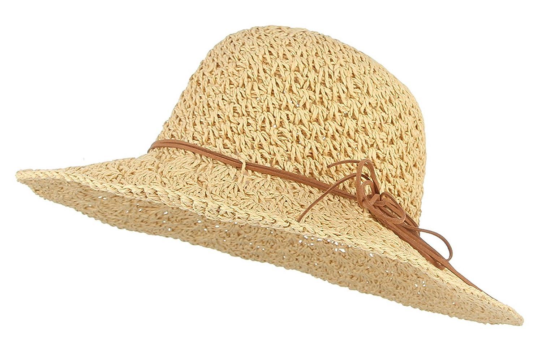 GEMVIE Chapeau de Paille Femme Capeline Anti-UV Bord Large Pliable Chapeau De Soleil pour /ét/é Plage Loisir Voyage Vacances