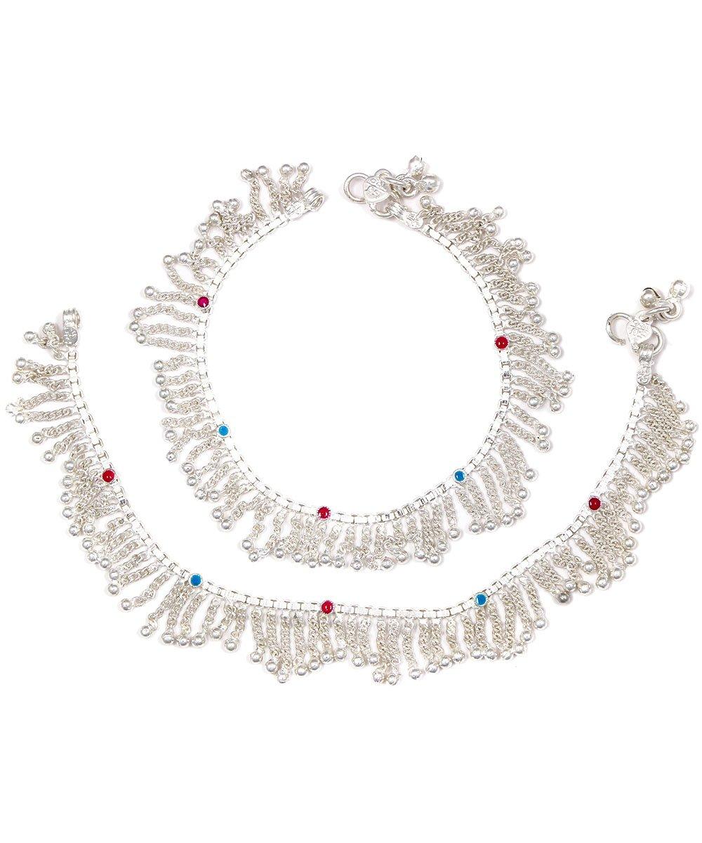 Womens Trendz Handmade Silver Plated box chain toran anklet/Ghungroo Painjan for Women and Girls