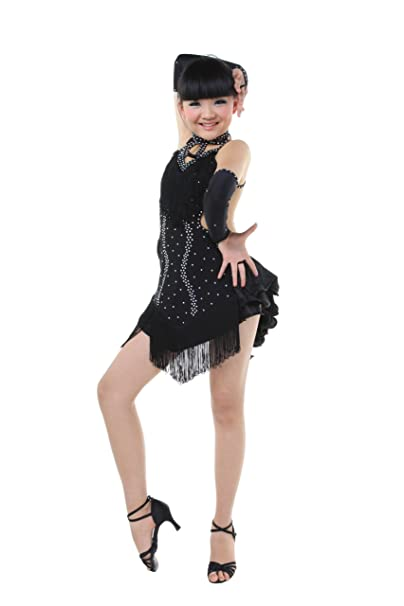 2bcac3516 Image Unavailable. Image not available for. Color: Child Girls performance Latin  dance dress 3 sets-Sky Blue Yellow Black