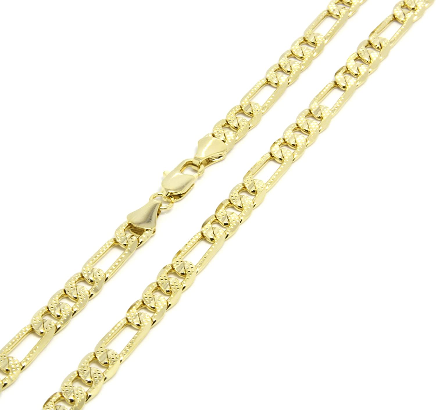 Mens Gold Frosted Tone 24 6mm Italian Figaro Link Chain Necklace