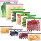 GLAMFIELDS Reusable food Storage Bags - 10 Pack Leakproof Freezer BPA FREE Bag(2 Reusable Gallon Bags + 4 Reusable…