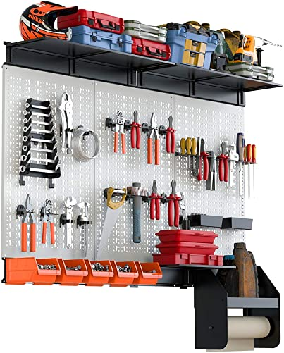 TORACK Pegboard Organizer, 4 ft Peg Board Tool Garage Storage Kit with Metal Toolboard and Accessories
