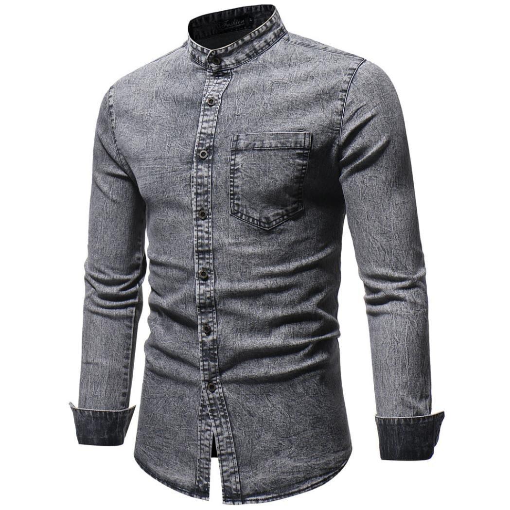 HTHJSCO Men's T-Shirt Top Blouse, Men's Distressed Solid Denim Cowboy Cut Work Western Long-Sleeve Shirt (Gray, XXL)