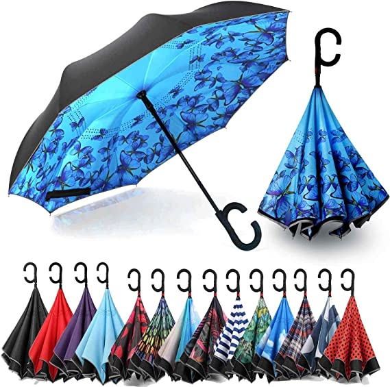 SLEPOPO Inverted Umbrella,Windproof UV Protection Big Straight Umbrella with C-Shaped Handle and Carrying Bag Colorful Giraffes Double Layer Reverse