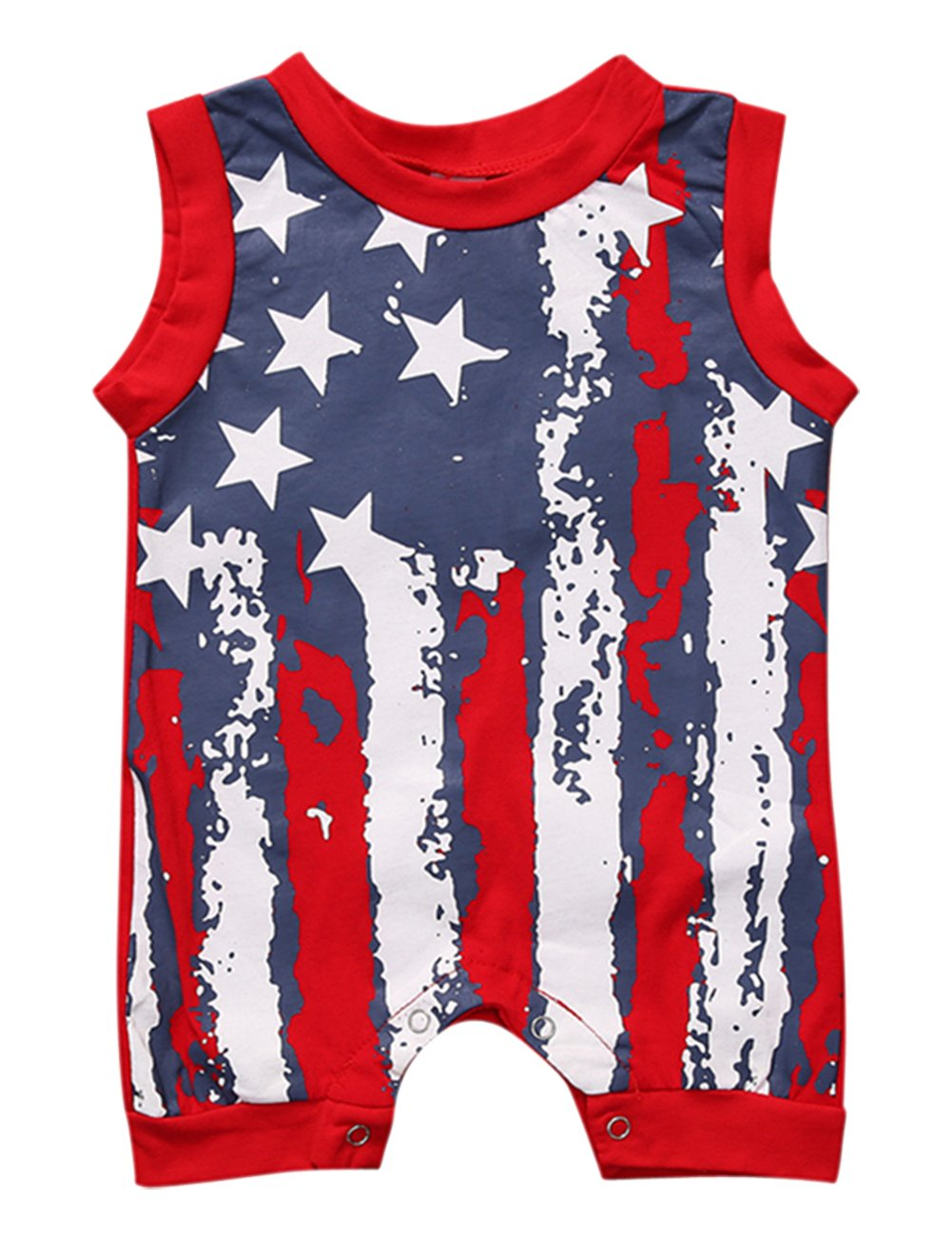 UNIQUEONE Infant Baby Boys Girls Outfits American Flag Pattern Romper Jumpsuit Clothes Size 12-18Months/Tag90(Red)