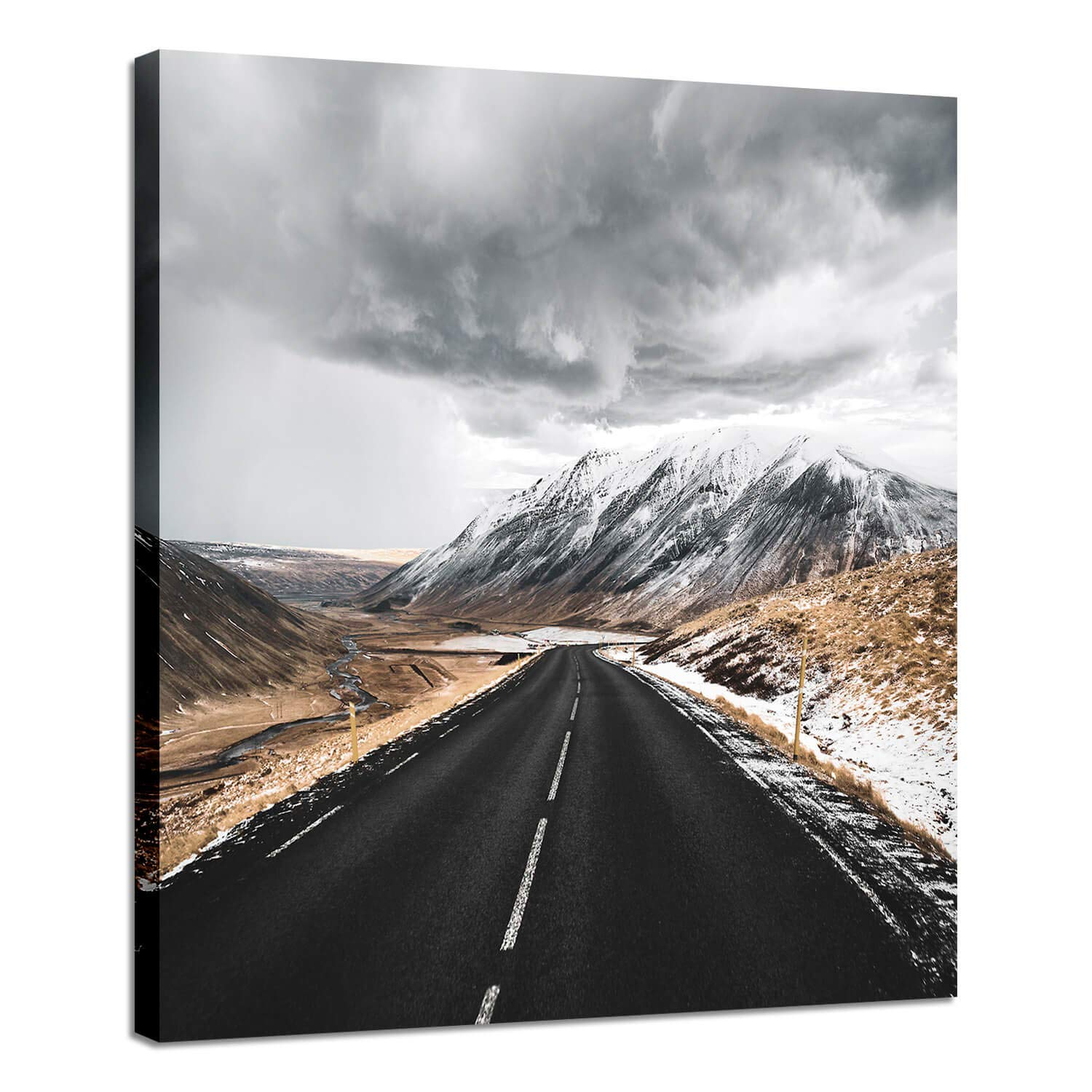 Landscape Rustic Road Wall Art: Winter Roadway Runs Through The Mountains Photographic Print on Canvas Modern Home Decor