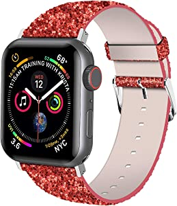 iiteeology Compatible with Apple Watch Band 38mm 40mm 42mm 44mm, Shiny Bling Glitter Leather Band for iWatch SE Series 6/5/4/3/2/1 Women Girls (Red, 42mm)