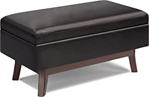 SIMPLIHOME Owen 36 inch Wide Mid Century Modern Rectangle Small Rectangular Storage Ottoman in Tanners Brown Faux Leather, for the Living Room, Family Room and Entryway