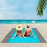 ISOPHO Beach Blanket, 79''×83'' Picnic Blankets Waterproof Sandproof for 4-7 Adults, Oversized Lightweight Beach Mat, Portabl