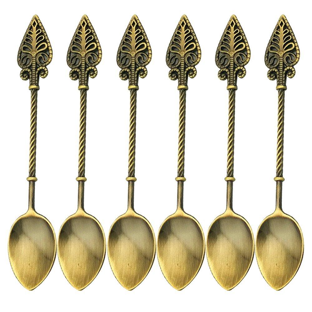 Retro Creative 6-pieces Tablespoon Coffee Scoops Stirring Spoon Sugar Spoon Tea Spoon Ice Cream Scoops Seasoning Spoon (Antique Brass)