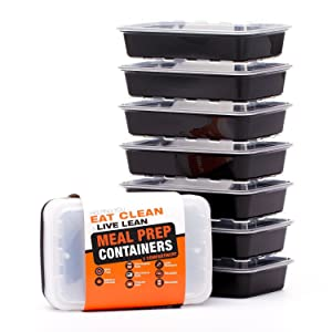 Meal Prep Containers - Food Storage Prep Containers Certified BPA-free - Portion Control, Reusable, Washable, Microwavable Plastic Containers with Lids Bento Box (7 Pack, 2 Compartment, 28 Ounce)