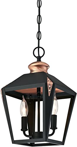 Westinghouse Lighting 6328400 Valley Forge Two-Light Indoor Pendant, Matte Black Finish with Copper Accents