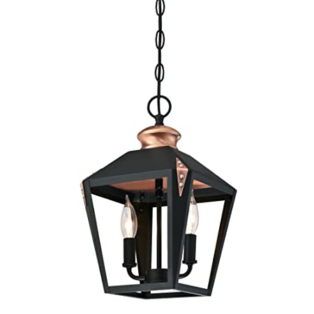Westinghouse Lighting 6328400 Valley Forge Two-Light Indoor Pendant, Matte Black Finish with Copper Accents,