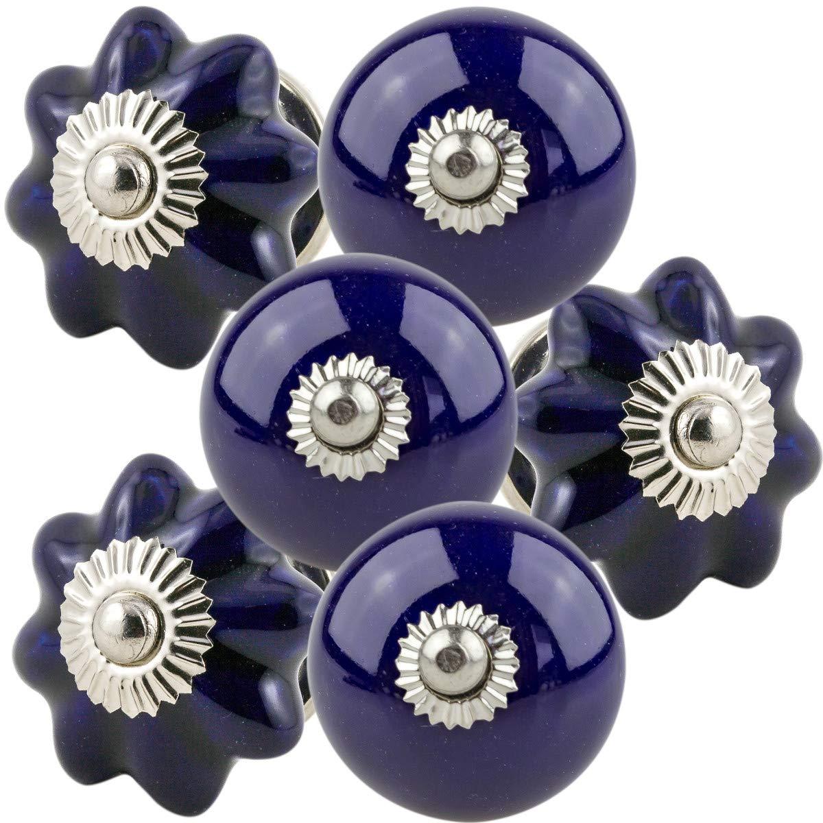 color azul oscuro Tiradores de caj/ón de porcelana pintados a mano Juego de 6 pomos de cer/ámica para muebles 174/_635 pomo de Jay Knopf