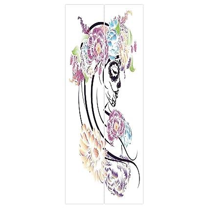 3d Door Wall Mural Wallpaper Stickers SkullDramatic Skull Girl In Colorful Floral Veil