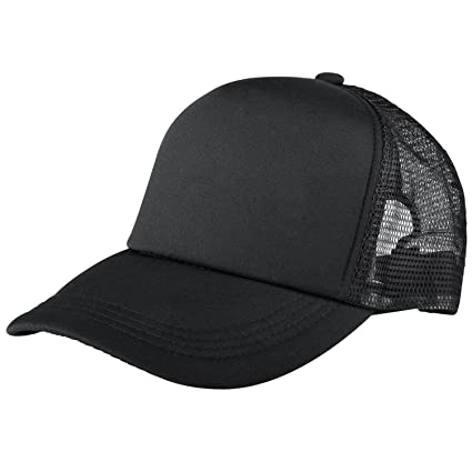 0c437129b Trucker Hat Baseball Cap Mesh Caps Blank Plain Hats Black