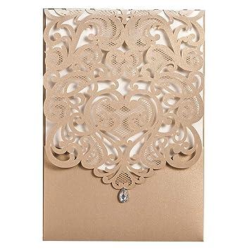1 Sample Wishmade Gold Laser Cut Heart Design Wedding Invites Printable Rhinestone Birthday