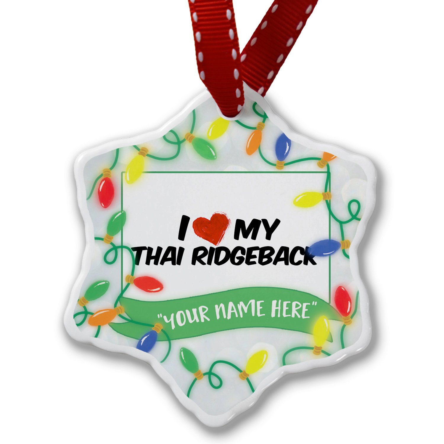 Personalized Name Christmas Ornament, I Love my Thai Ridgeback Dog from Thailand NEONBLOND