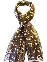 Women Ladies Long Gold Foil Musical Note Scarves Stole Wrap Neck Choir Scarf