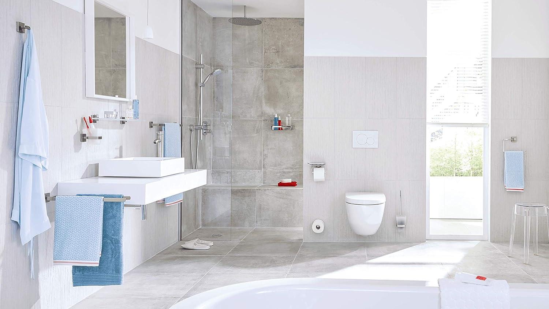 50mm x 600mm x 118mm Accessoire de salle de bain m/étal Finition Brillante adh/ésif Design d/élicat Garanti Inoxydable tesa 40409 Deluxxe Tablette en Verre Chrom/é//Carr/é