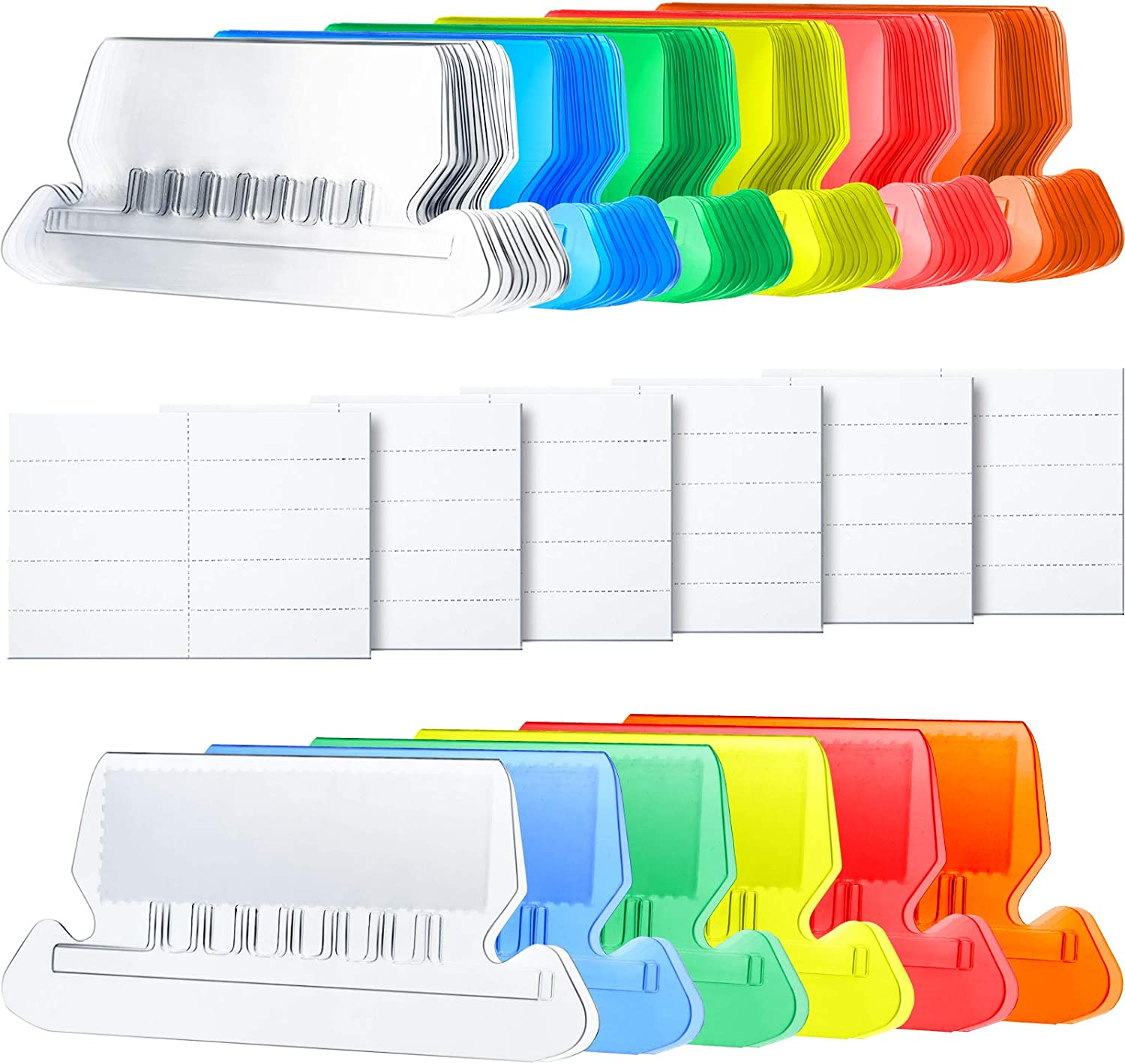 60 Sets, Flat Design Multicolor A 2 Inch Hanging Folder Tabs and Inserts for Organize and Distinguish Hanging Files Clear to Read