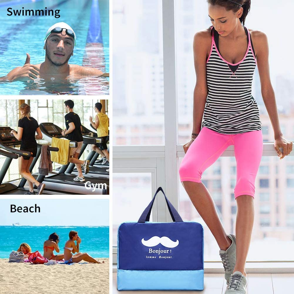 CHYOUL Wet and Dry Separation Lightweight Handy Duffle Swim Camp High Capacity Tote Daycare Workout Gym Beach Bags with Shoe Part Baby Shower Gift BM