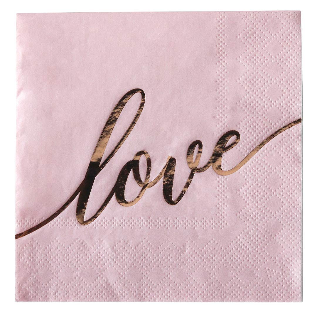 Andaz Press Pink with Rose Gold Scripted Love Saying Cocktail Napkins, Bulk 100-Pack Count 3-Ply Disposable Fun Beverage Napkins for Wedding, Bridal Shower, Bachelorette, Baby Shower, Valentine's Day by Andaz Press