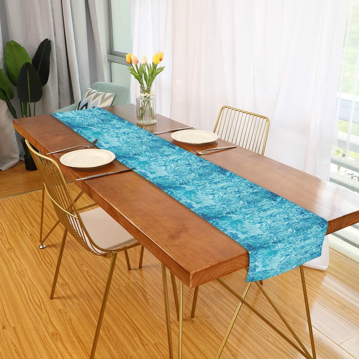 Amazon Com Table Runner Turquoise Sea Ocean Wave Blue Square Folding Dining Table Decor Scarves Non Slip Modern Dinning Table Runners Cover Cloth Mat For Coffee Kitchen Paty Patio Rectangular 90 Home Kitchen