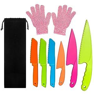 CCUT 6 Pieces Kid Plastic Kitchen Knife Set Children's Safe Cooking Knives Set with Cut Resistant Gloves (Ages 6-12) Kids Safe Knife for Fruit, Bread, Cake, Lettuce, Salad (Multi-color 2)