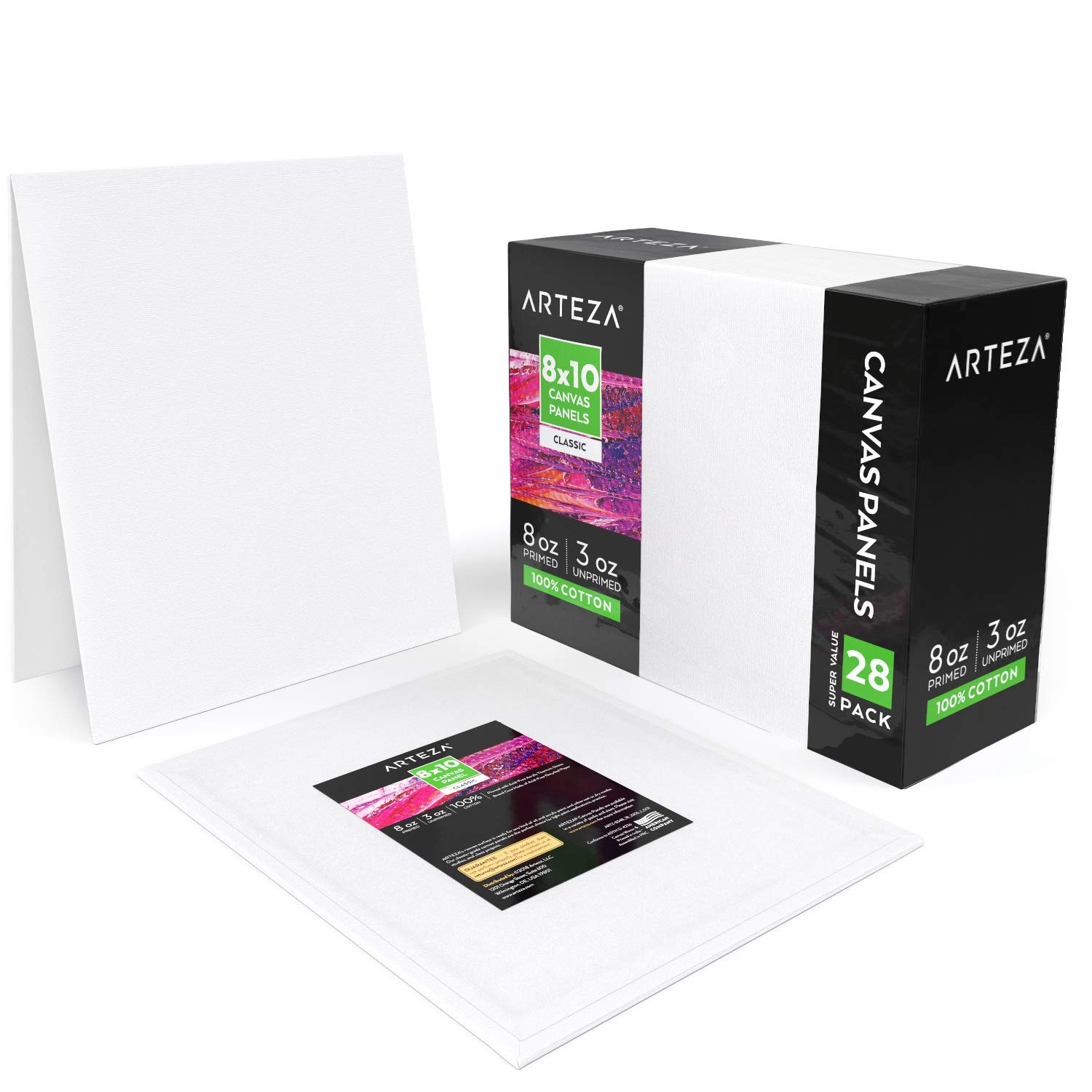 Arteza Painting Canvas Panels, 8x10, Pack of 28, Primed White, 100% Cotton with Recycled Board Core, for Acrylic, Oil, Other Wet Or Dry Art Media, for Artists, Hobby Painters, Kids