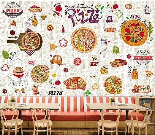 Sucsaistat Papel Tapiz Mural decoración Pintada a Mano Pizza ...
