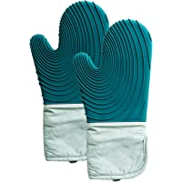 Silicone Oven Mitt, Oven Mitts with Quilted Liner, Heat Resistant Pot Holders, Heavy Duty Cooking Gloves Flexible Oven…