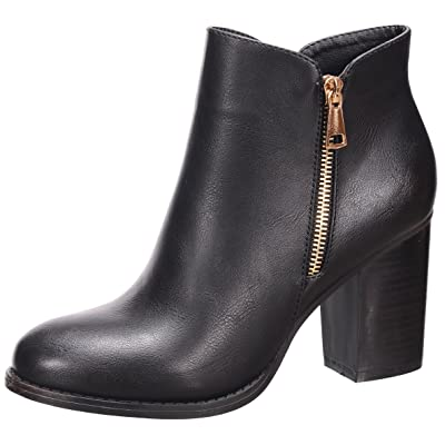 Nature Breeze Women's Closed Toe Zipper Chunky Stacked Block Heel Ankle Bootie | Ankle & Bootie