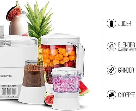 Geepas 4 in 1 Food Processor & Juicer | Multifunctional Smoothie Maker, Juicer, Compact Electric Blender, Chopper & Grinder | 1.5L Jug, 2 Speed Pulse