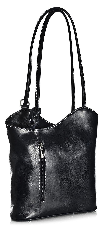 Big Handbag Shop Womens Genuine Italian Carry on Shoulder or Backpack Bag with Free Dust Bag